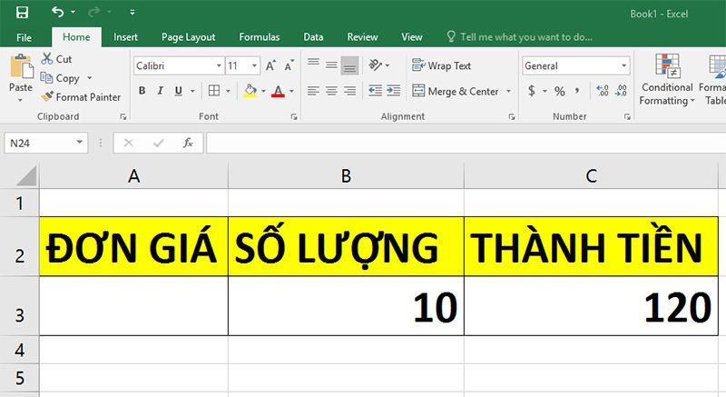 đơn giá hàm chia trong Excel