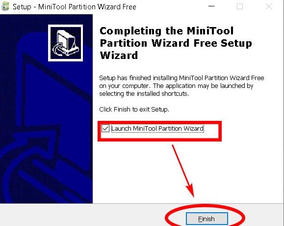 chon-launch-minitool-partition-wizard-roi-nhan-vao-finish-de-ket-thuc-qua-trinh-cai-dat